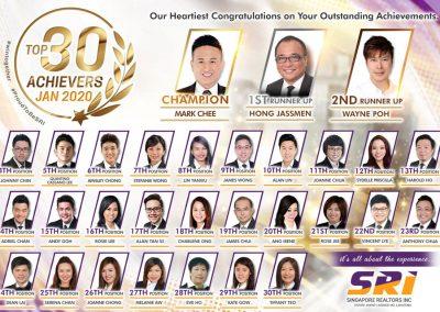 SRI Top Achievers Jan 2020