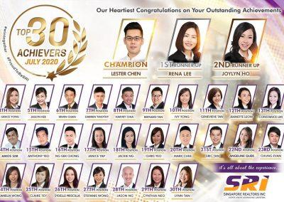 SRI July 2020 top achievers
